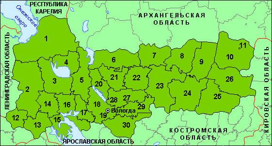 Карта районов Вологодской